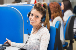 girl smiling in call center